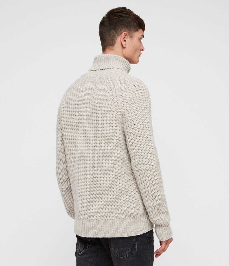 Mens Mast Funnel Neck Sweater (taupe_marl) - Image 4