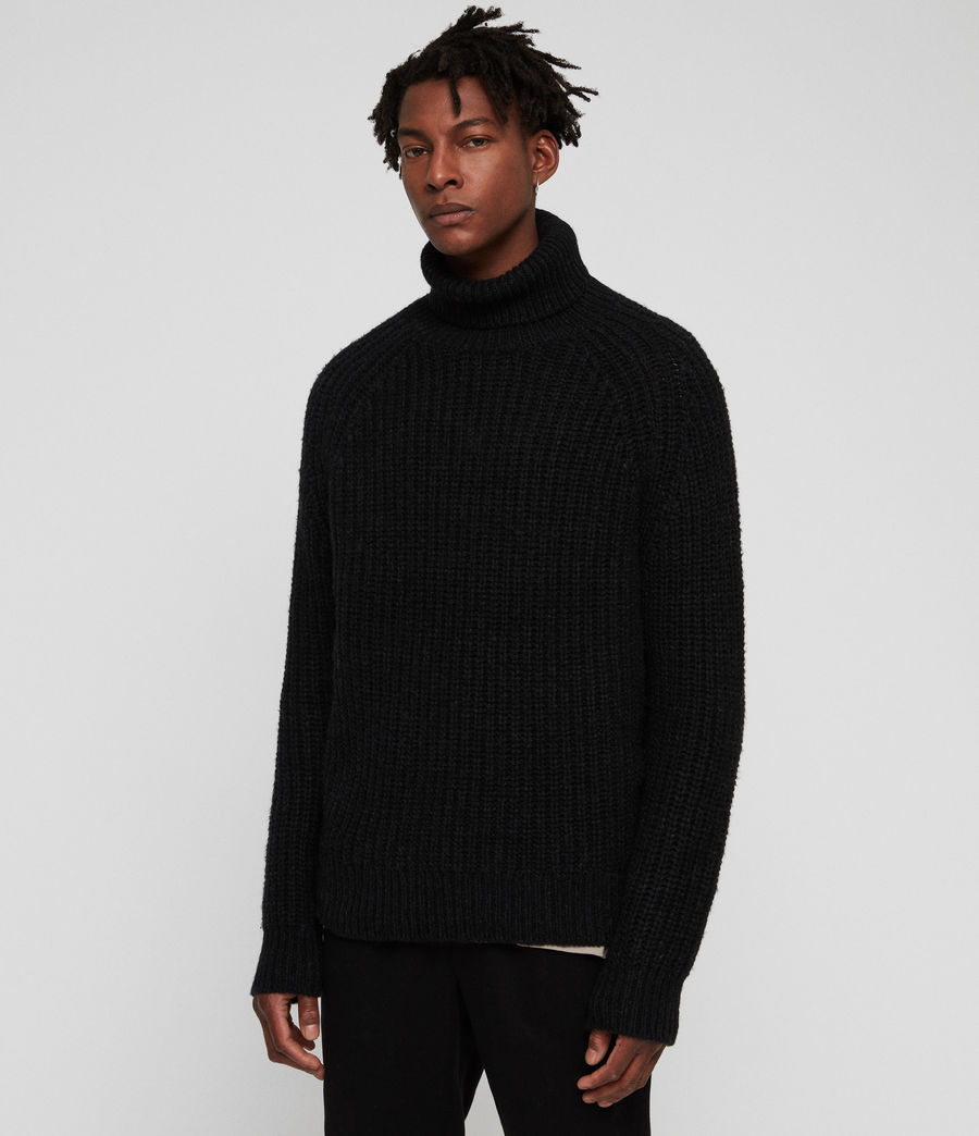 Mens Mast Funnel Neck Sweater (cinder_black_marl) - Image 1