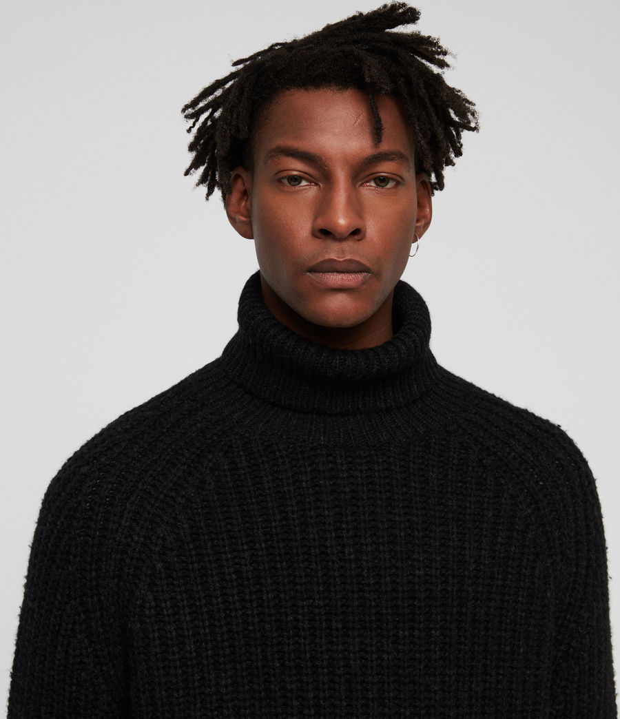 Mens Mast Funnel Neck Sweater (cinder_black_marl) - Image 2