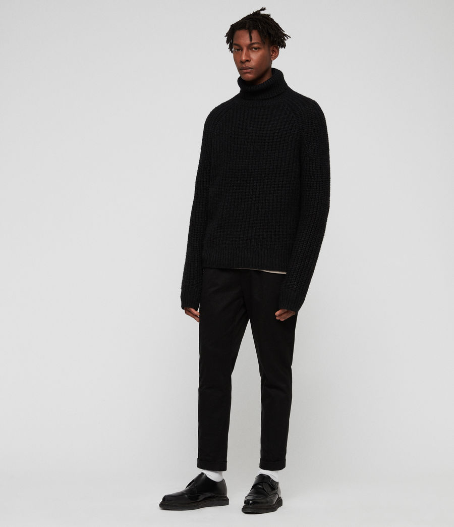 Mens Mast Funnel Neck Sweater (cinder_black_marl) - Image 3