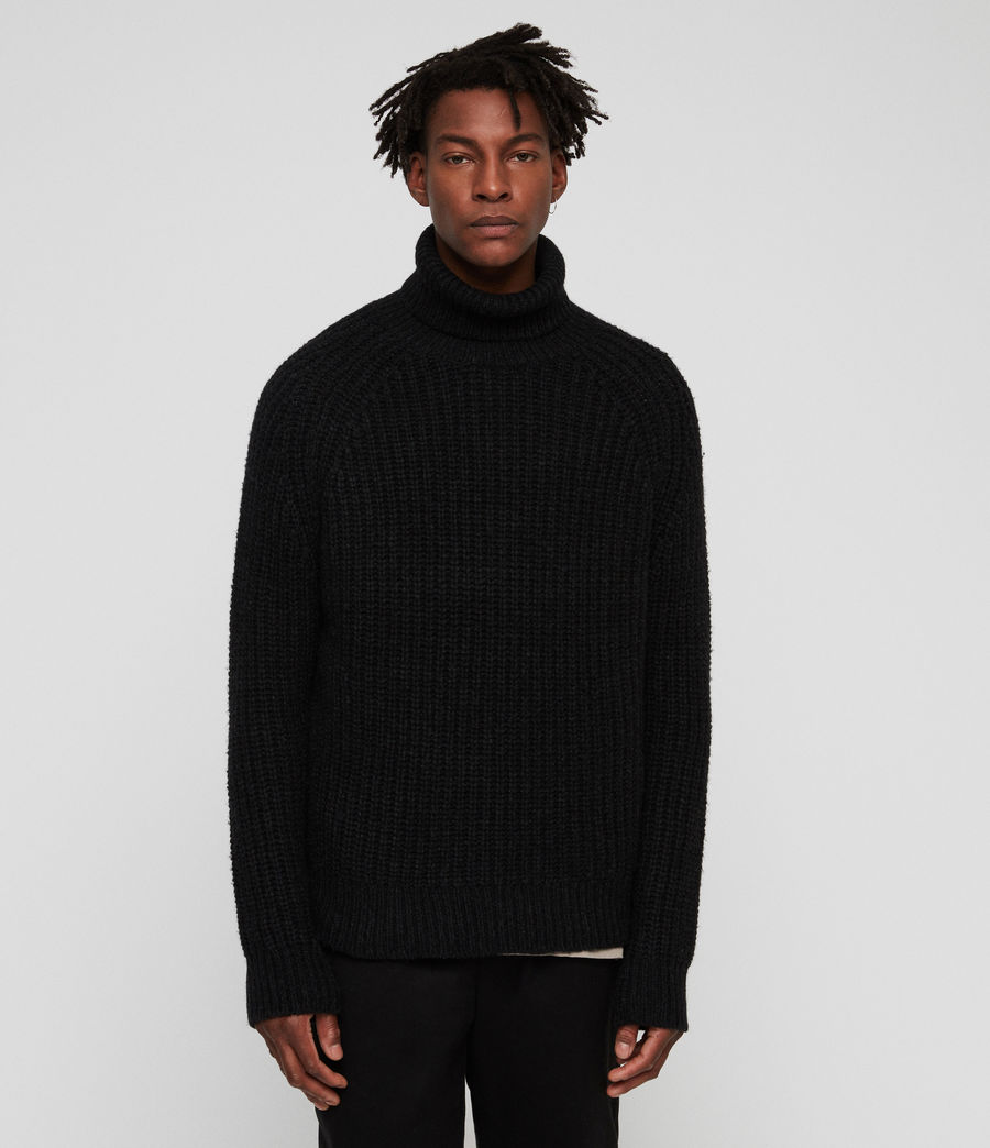 Mens Mast Funnel Neck Sweater (cinder_black_marl) - Image 4