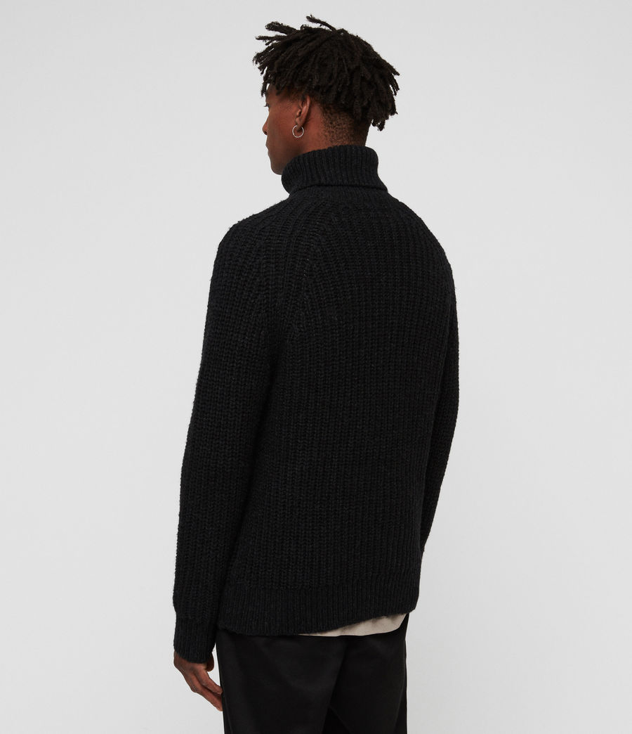 Mens Mast Funnel Neck Sweater (cinder_black_marl) - Image 5