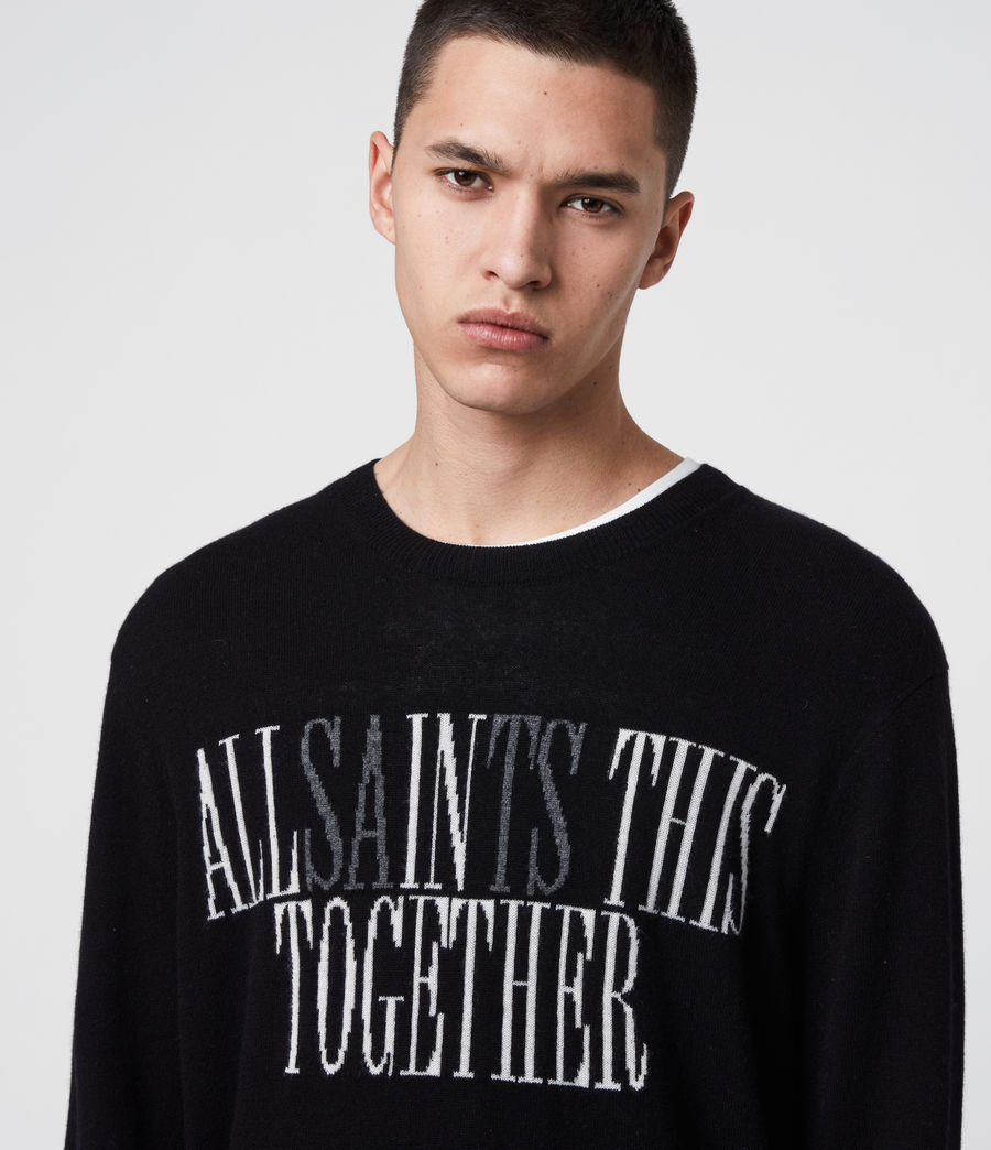 Men's Together Crew Jumper (black_ecru_charcl) - Image 2