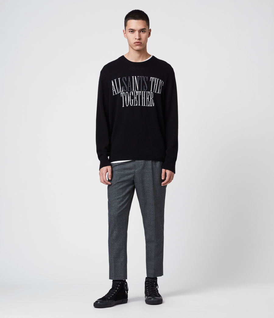 Men's Together Crew Jumper (black_ecru_charcl) - Image 3