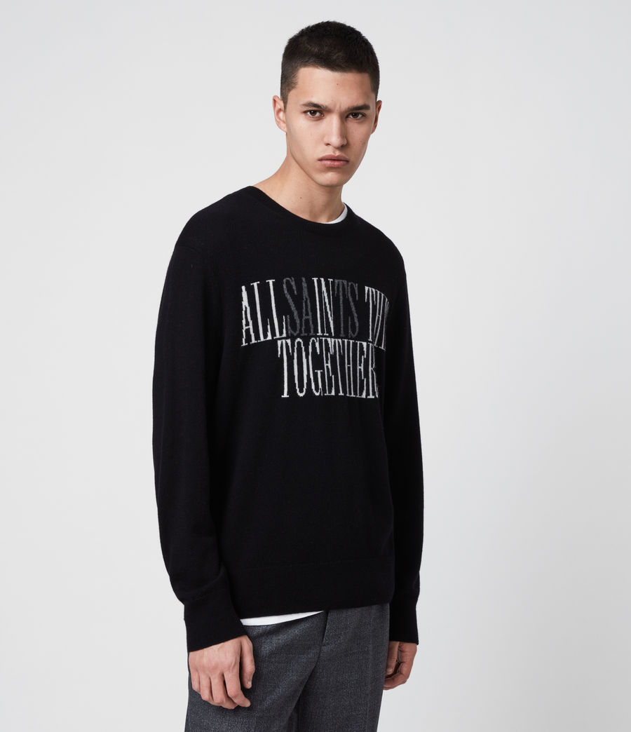 Men's Together Crew Jumper (black_ecru_charcl) - Image 4