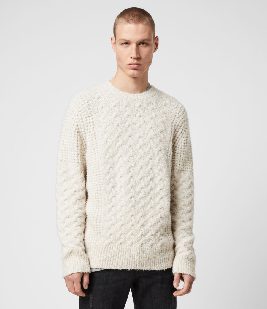 Men's Aran Crew Jumper (dune_white) - Image 1