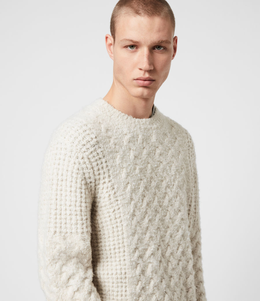 Men's Aran Crew Jumper (dune_white) - Image 2