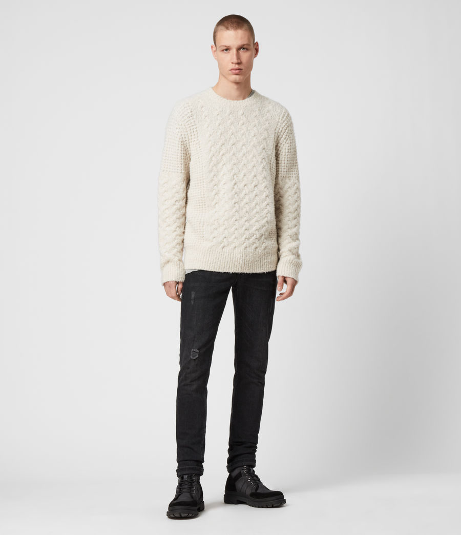 Men's Aran Crew Jumper (dune_white) - Image 3