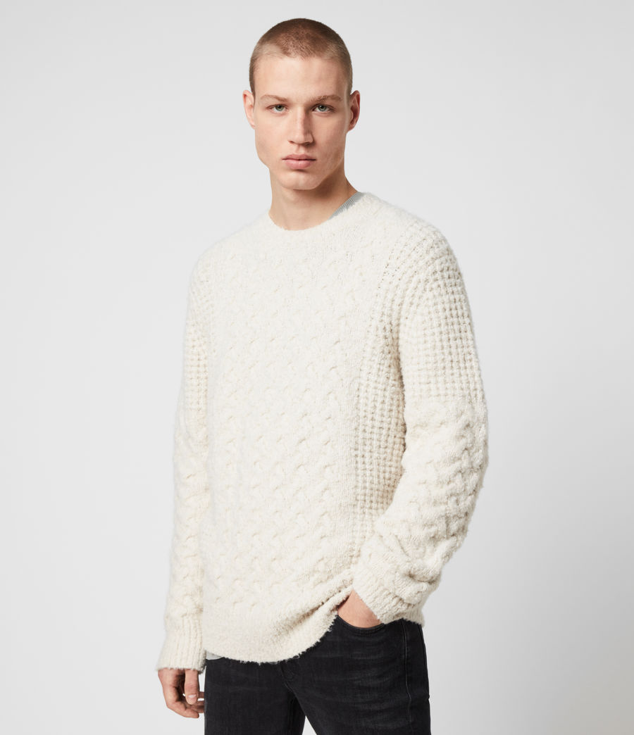 Men's Aran Crew Jumper (dune_white) - Image 4