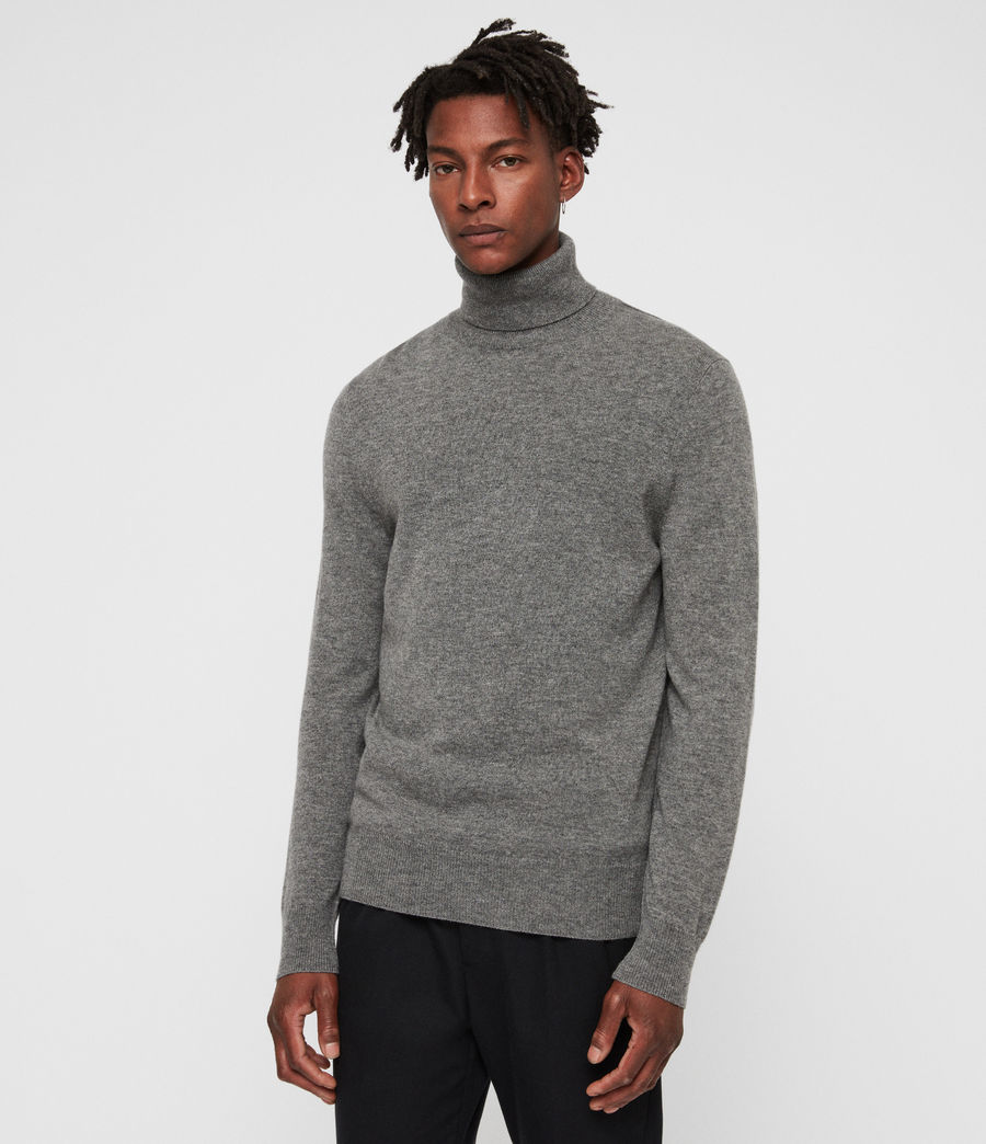 Men's Nova Roll Neck Jumper (grey_marl) - Image 1