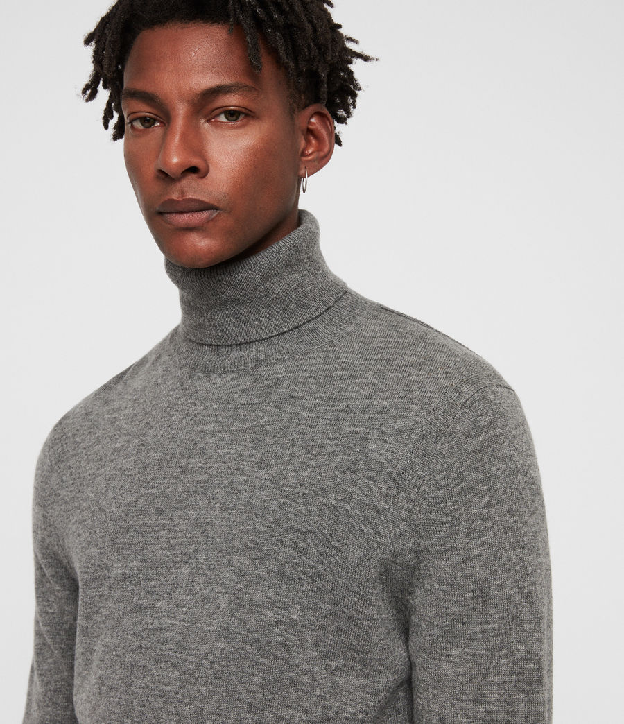Men's Nova Roll Neck Jumper (grey_marl) - Image 2