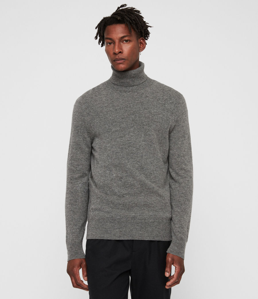 Men's Nova Roll Neck Jumper (grey_marl) - Image 4