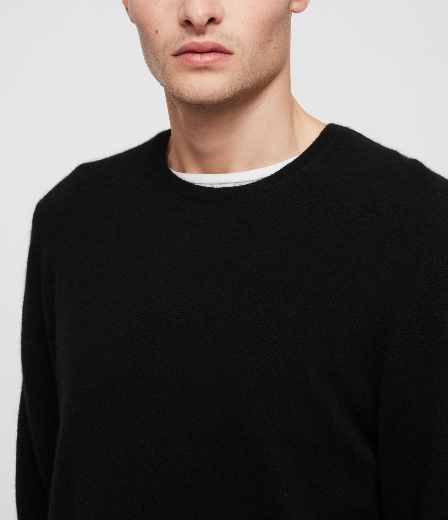 Men's Hyde Cashmere Crew Jumper (black) - Image 2