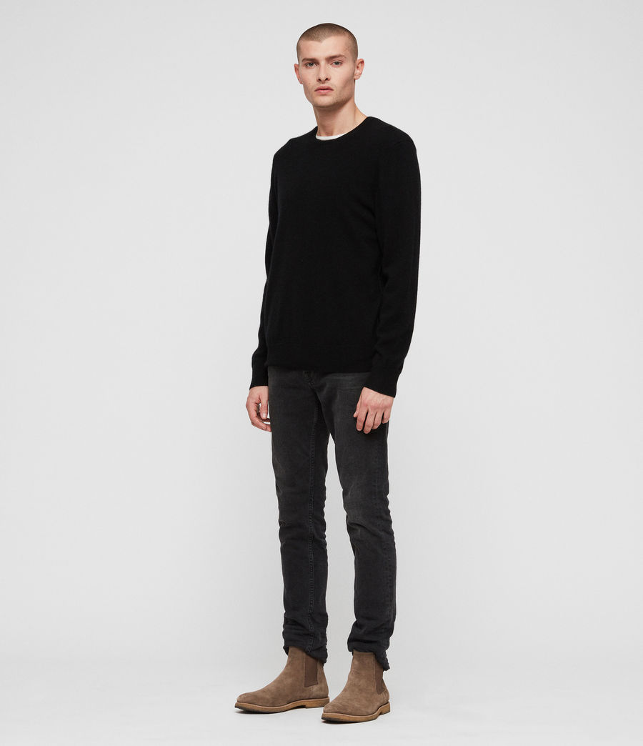 Men's Hyde Cashmere Crew Jumper (black) - Image 3