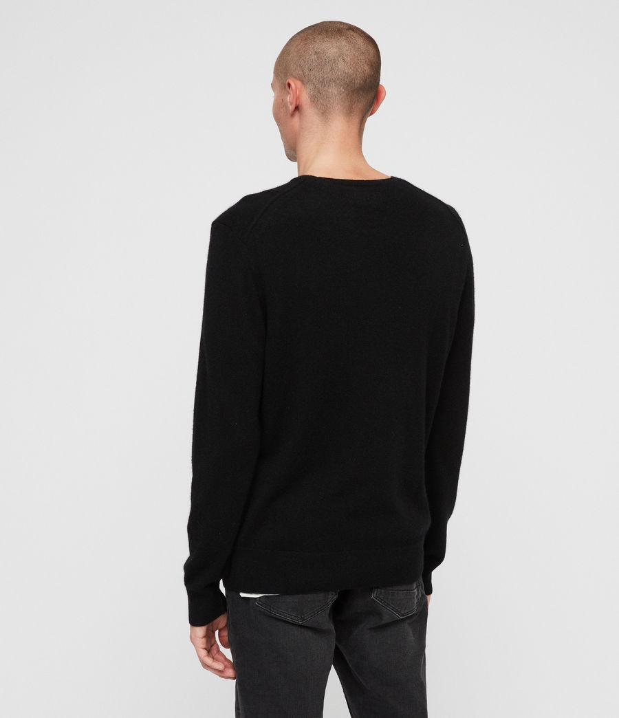 Men's Hyde Cashmere Crew Jumper (black) - Image 4