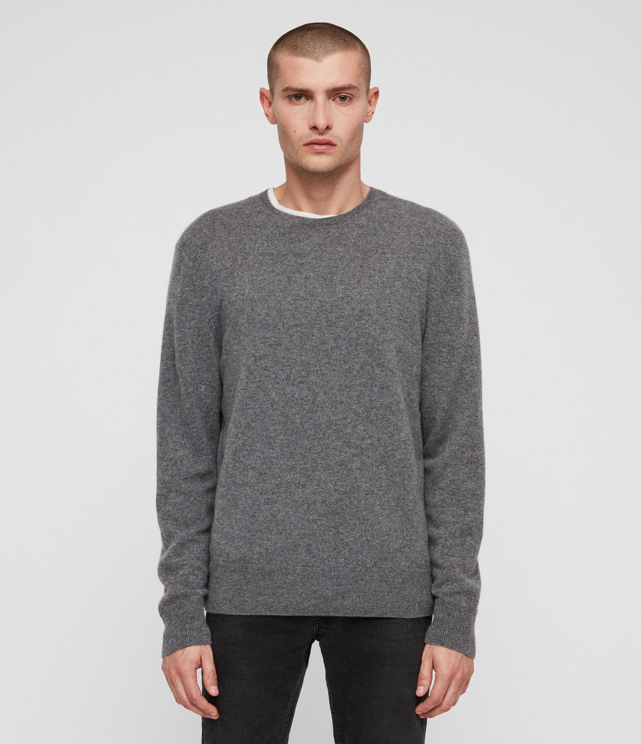 Mens Hyde Cashmere Crew Sweater (charcoal_marl) - Image 1