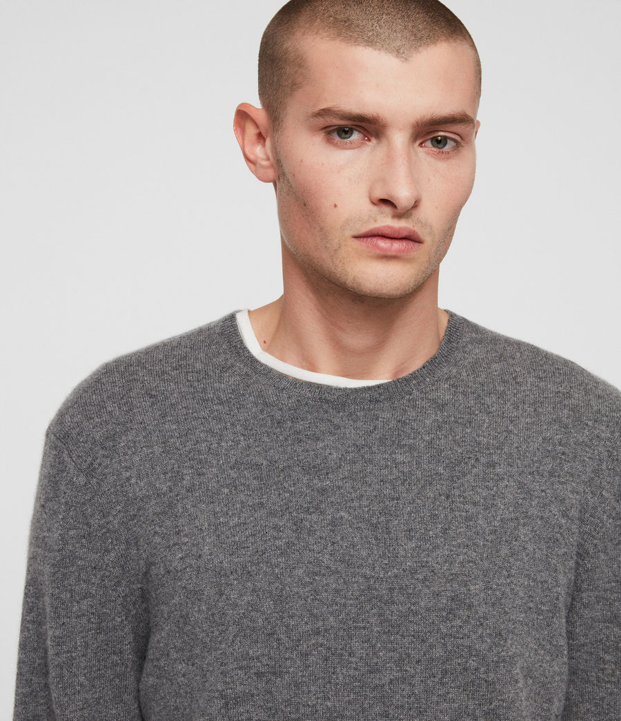 Mens Hyde Cashmere Crew Sweater (charcoal_marl) - Image 2