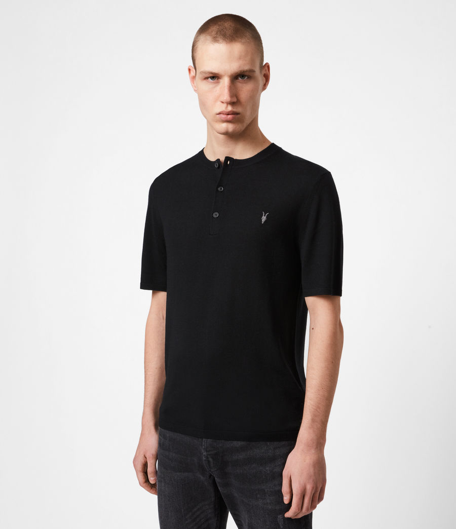 Men's Mode Merino Henley T-Shirt (black) - Image 1