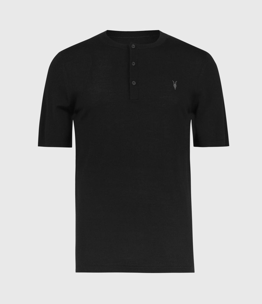 Men's Mode Merino Henley T-Shirt (black) - Image 2