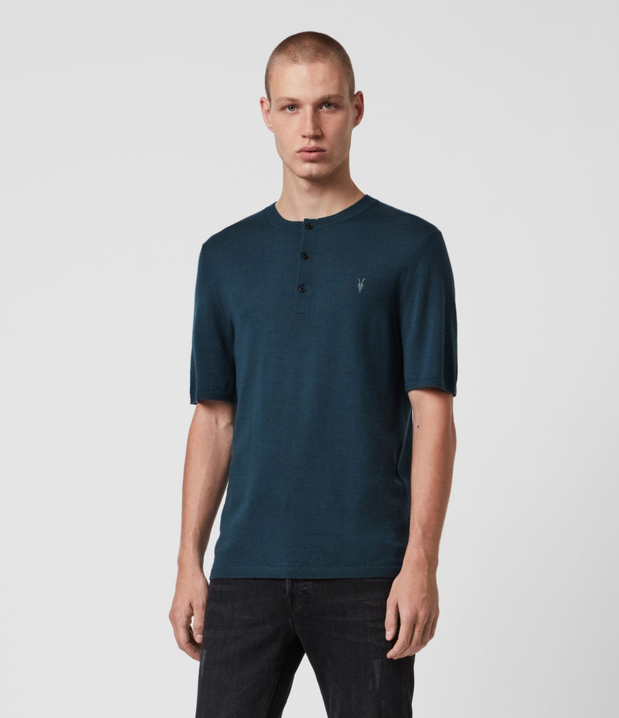 Men's Mode Merino Short Sleeve Henley (teal_blue_marl) - Image 1