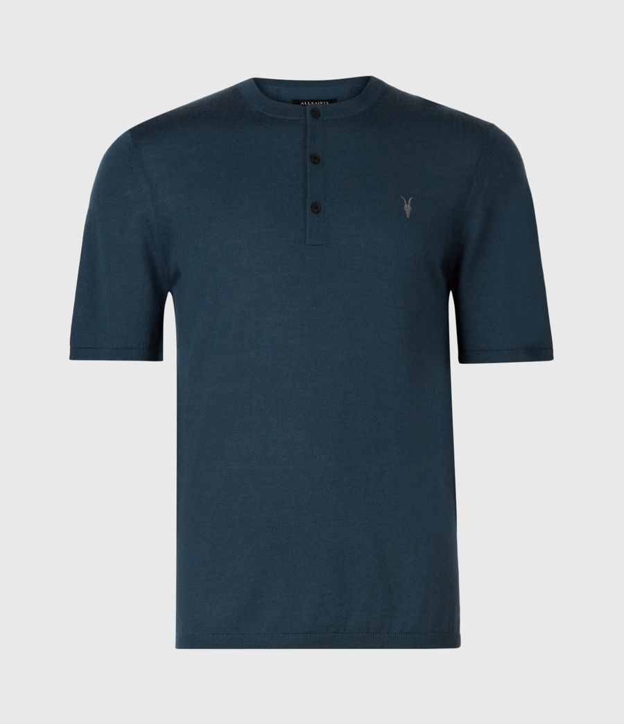 Men's Mode Merino Short Sleeve Henley (teal_blue_marl) - Image 2