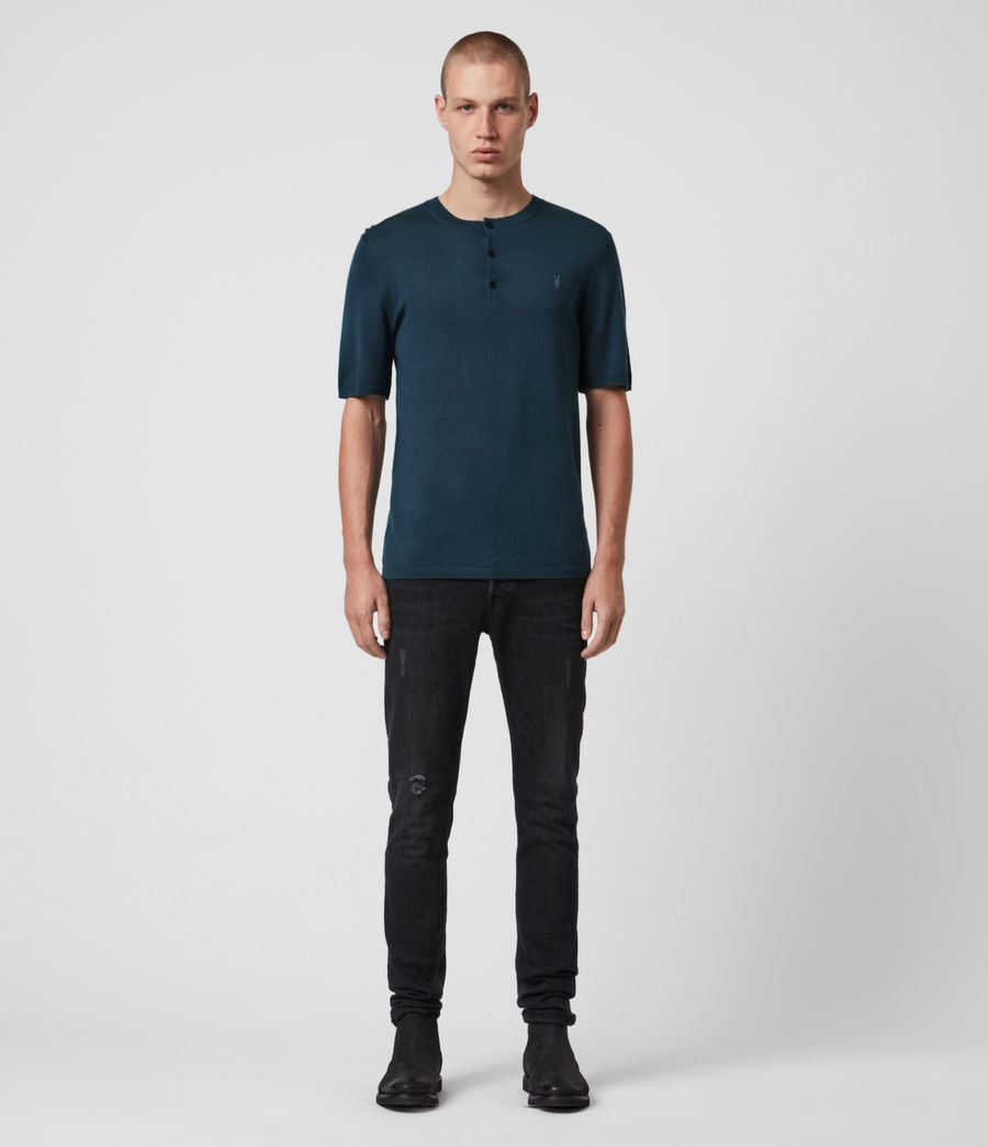 Men's Mode Merino Short Sleeve Henley (teal_blue_marl) - Image 4