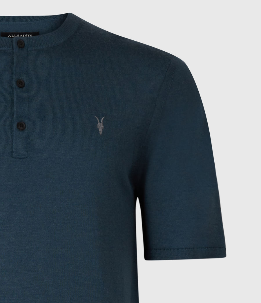 Men's Mode Merino Short Sleeve Henley (teal_blue_marl) - Image 5