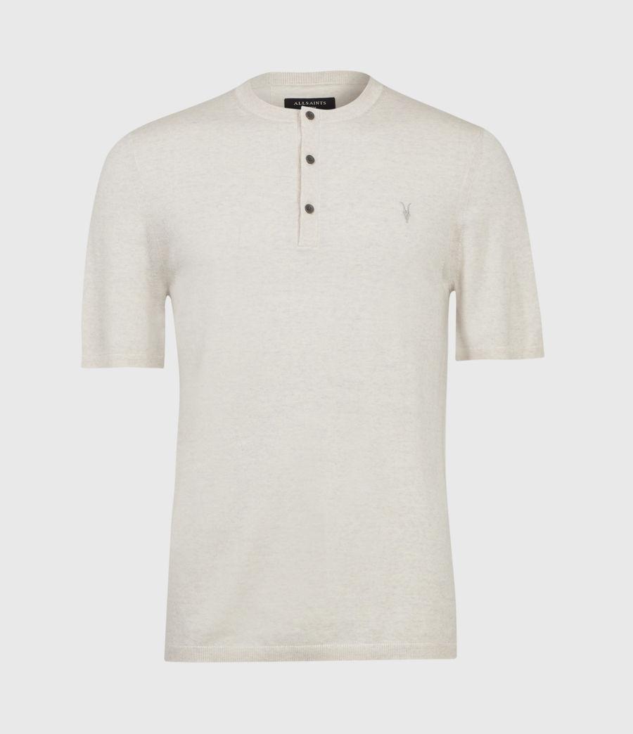 Hombres Mode Merino Henley T-Shirt (pine_ecru_marl) - Image 1