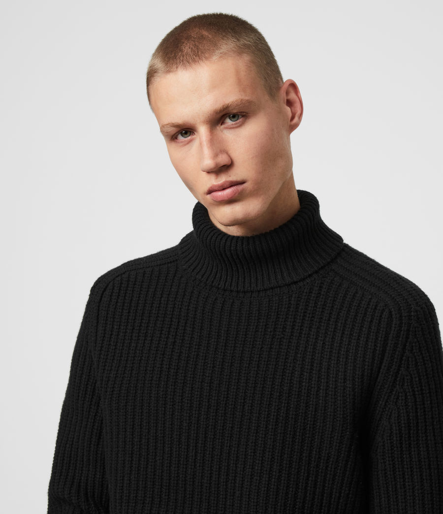 Mens Galley Funnel Neck Sweater (black) - Image 2