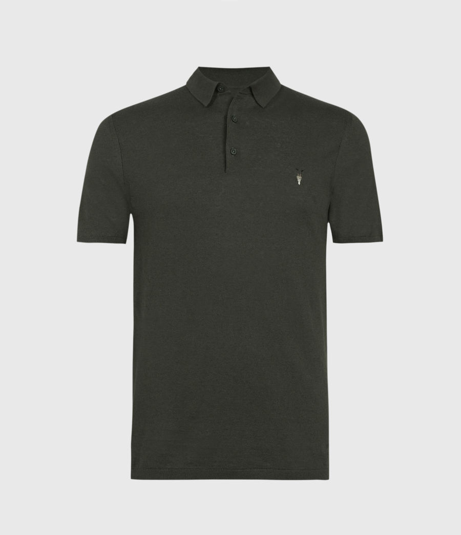 Men's Fade Ramskull Linen Blend Polo Shirt (loam_green) - Image 1