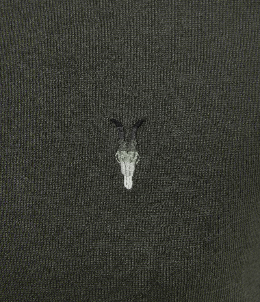 Men's Fade Ramskull Linen Blend Polo Shirt (loam_green) - Image 3