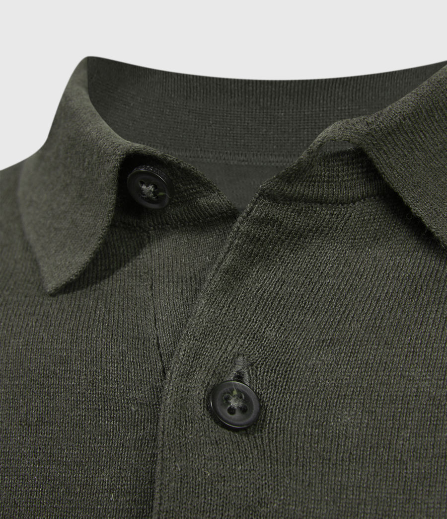 Men's Fade Ramskull Linen Blend Polo Shirt (loam_green) - Image 4