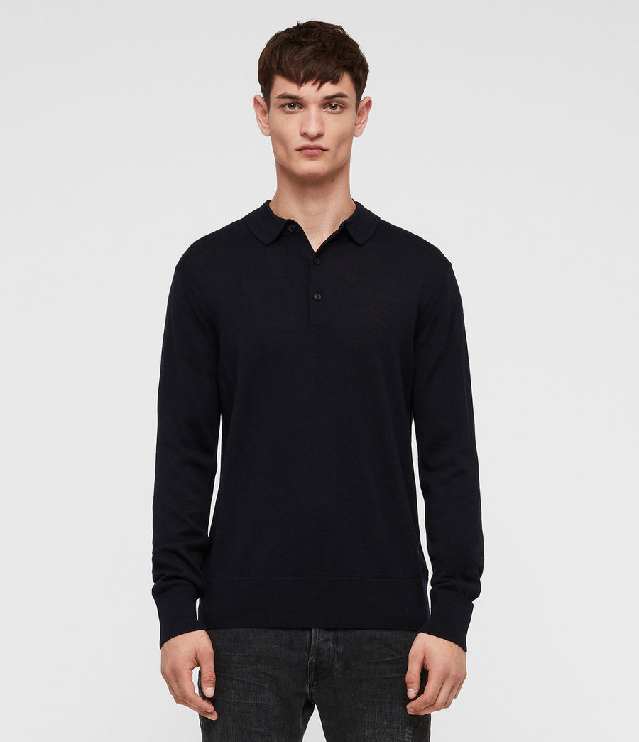 Herren Lang Merino Polo Shirt (ink_navy) - Image 1