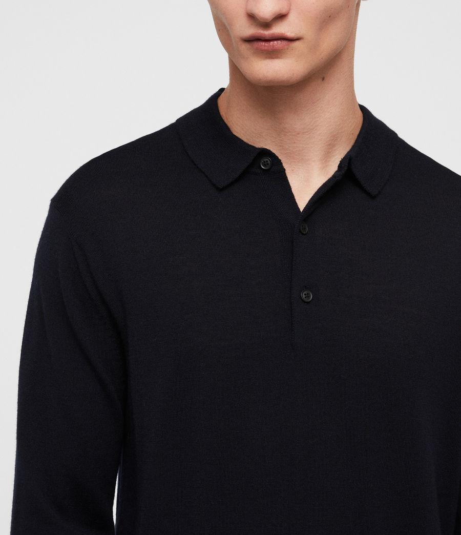Mens Lang Merino Polo Shirt (ink_navy) - Image 2