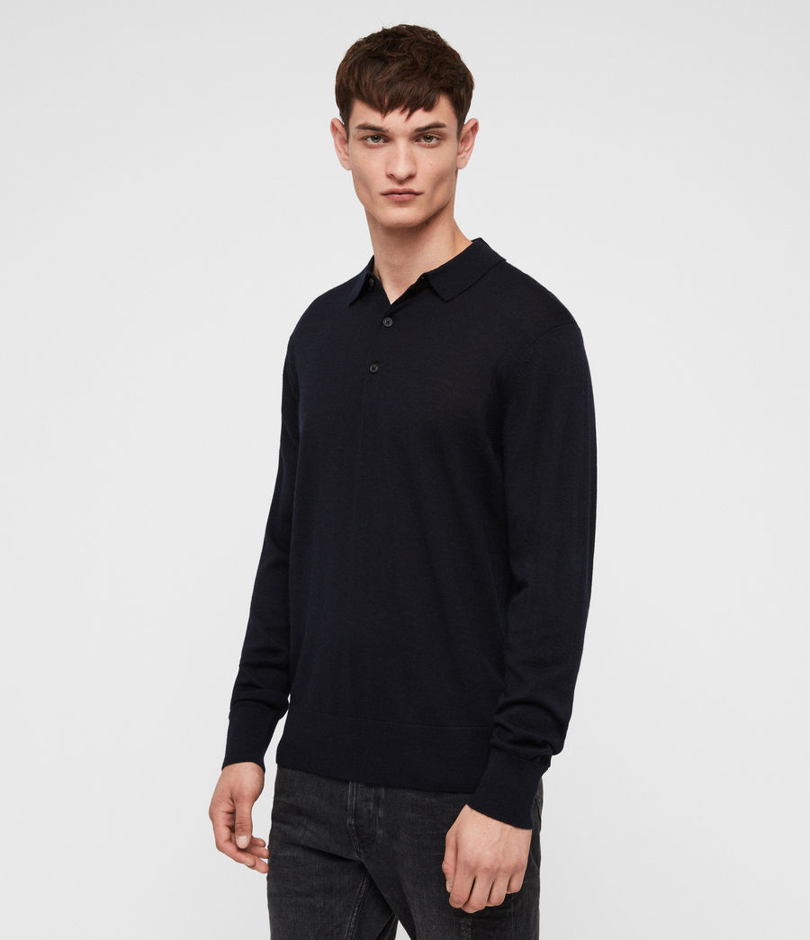 Mens Lang Merino Polo Shirt (ink_navy) - Image 4