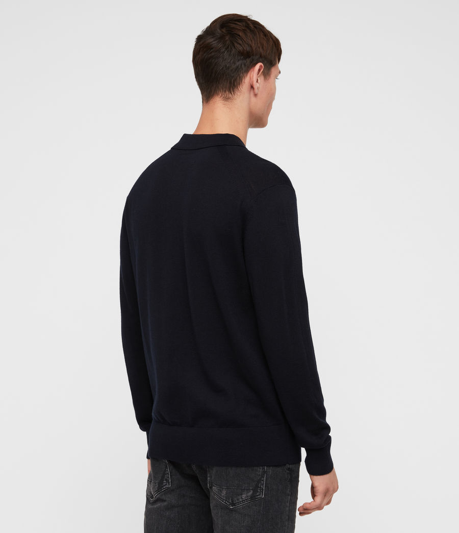 Mens Lang Merino Polo Shirt (ink_navy) - Image 5