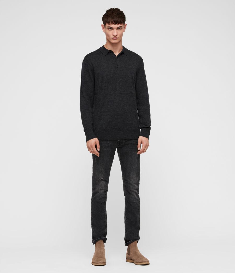 Herren Lang Merino Polo Shirt (tar_black_marl) - Image 1