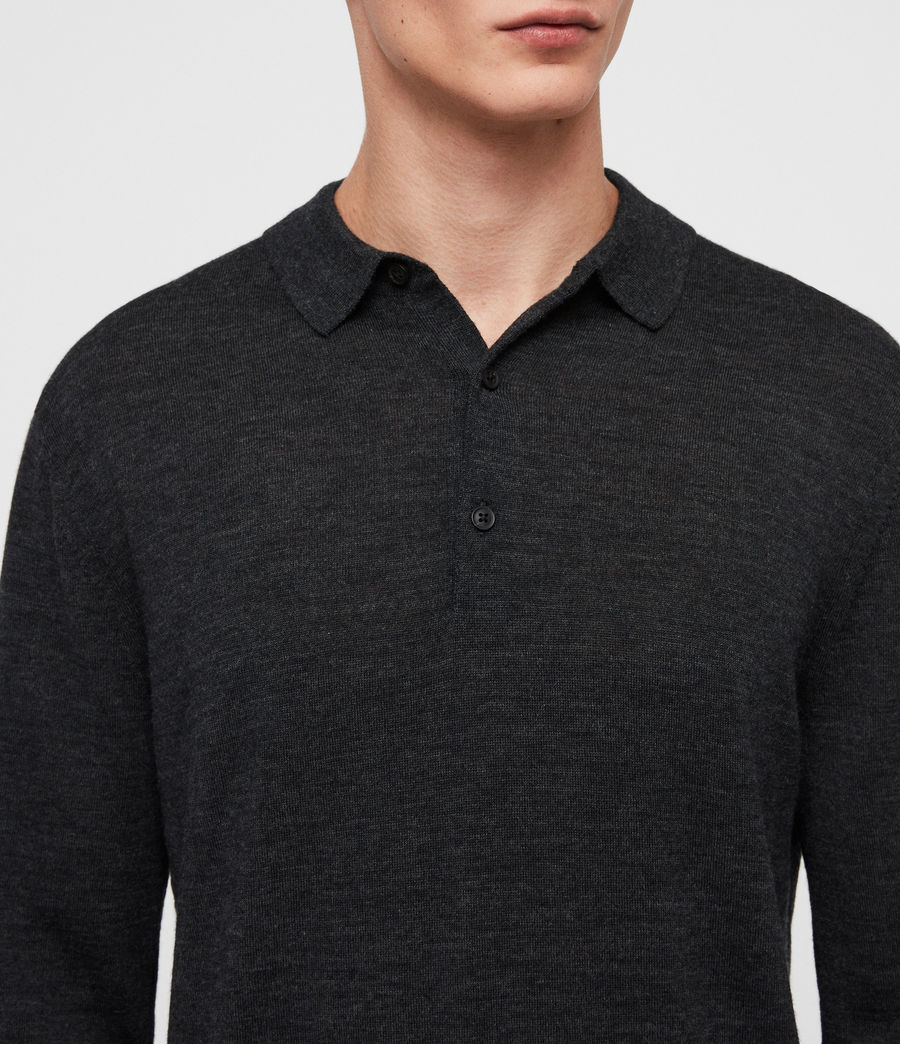 Herren Lang Merino Polo Shirt (tar_black_marl) - Image 2
