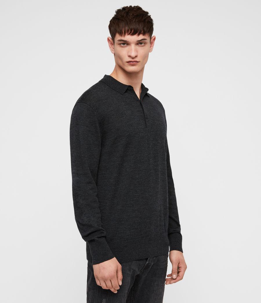 Herren Lang Merino Polo Shirt (tar_black_marl) - Image 3