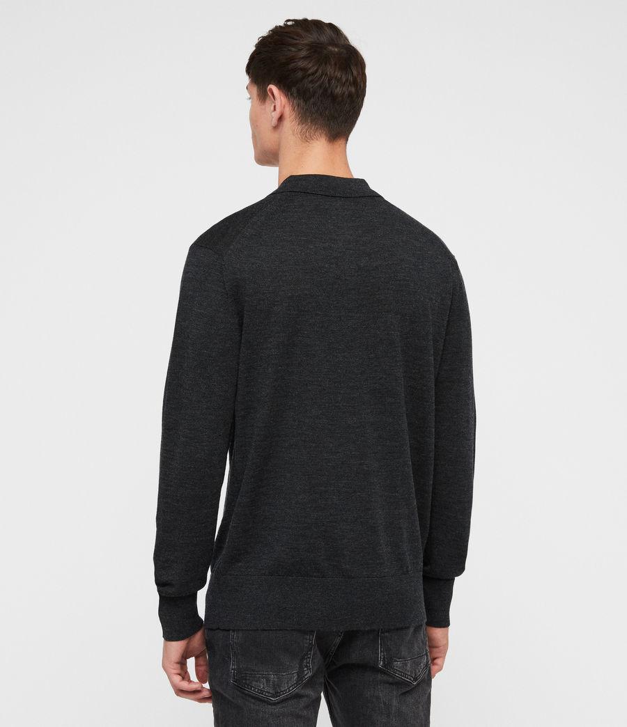 Herren Lang Merino Polo Shirt (tar_black_marl) - Image 4