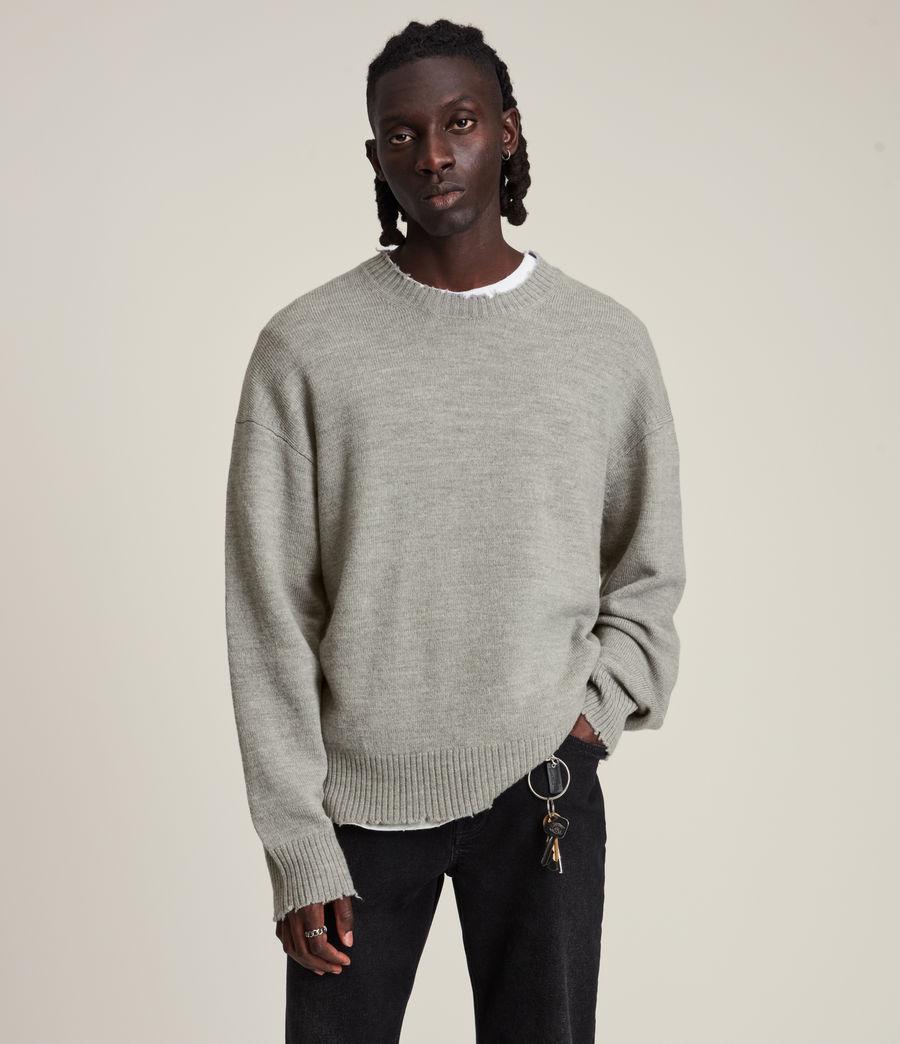 Men's Luxor Organic Wool Crew Jumper (grey_marl) - Image 4