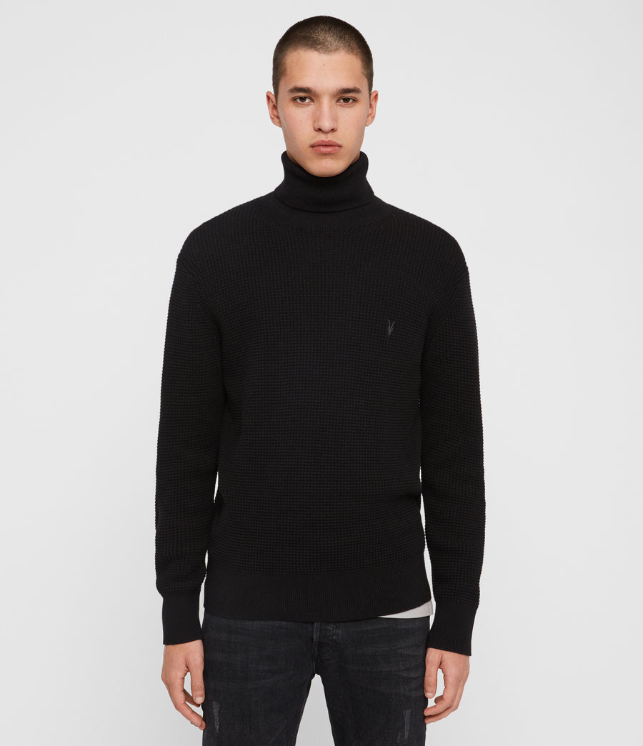 Men's Wells Roll Neck Jumper (black) - Image 1