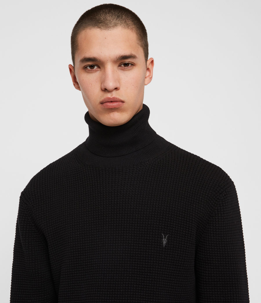 Men's Wells Roll Neck Jumper (black) - Image 2