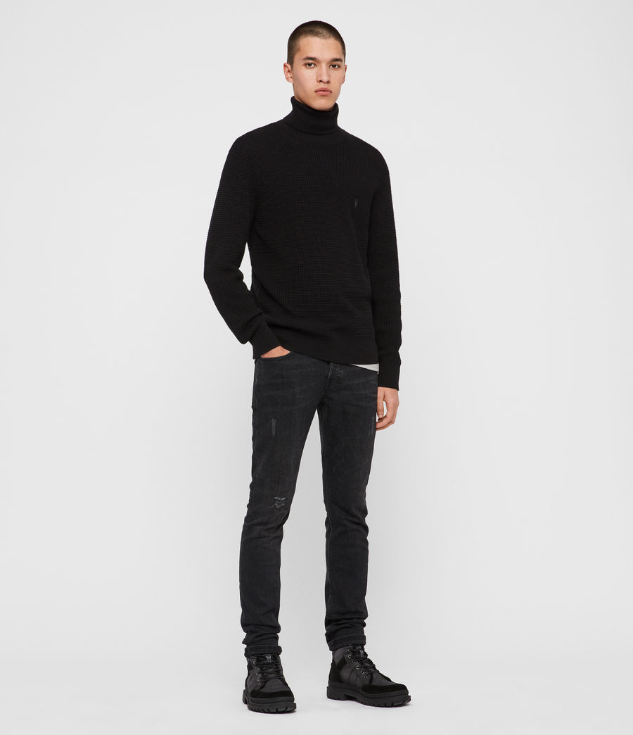 Men's Wells Roll Neck Jumper (black) - Image 3