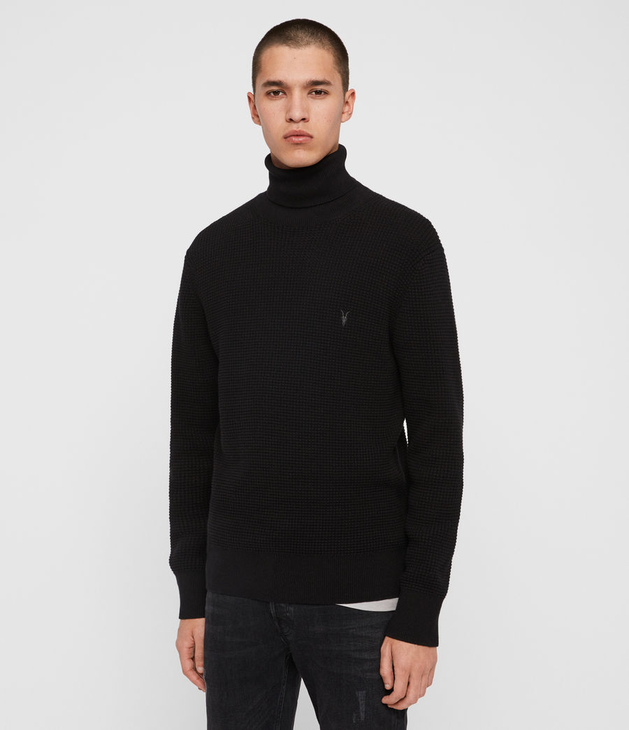 Men's Wells Roll Neck Jumper (black) - Image 4