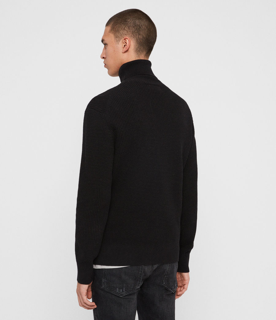 Men's Wells Roll Neck Jumper (black) - Image 5
