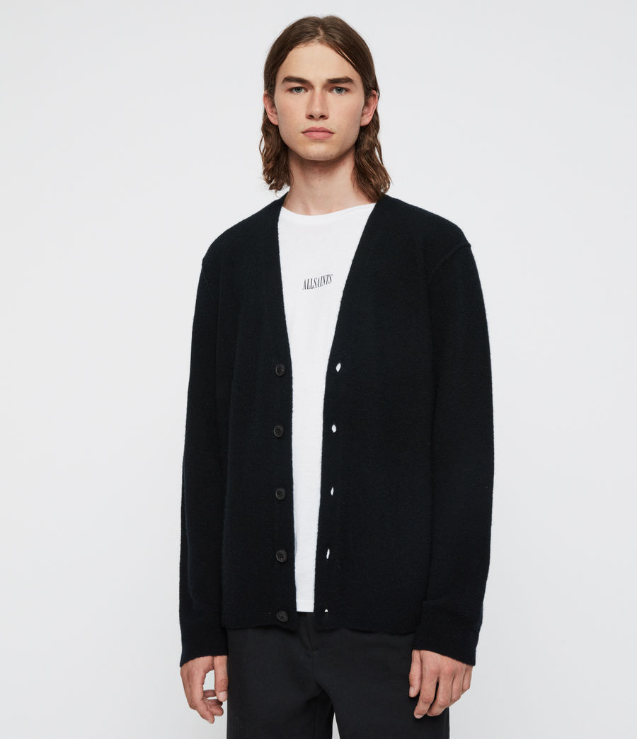 Men's Austell Cashmere Blend Cardigan (black) - Image 4