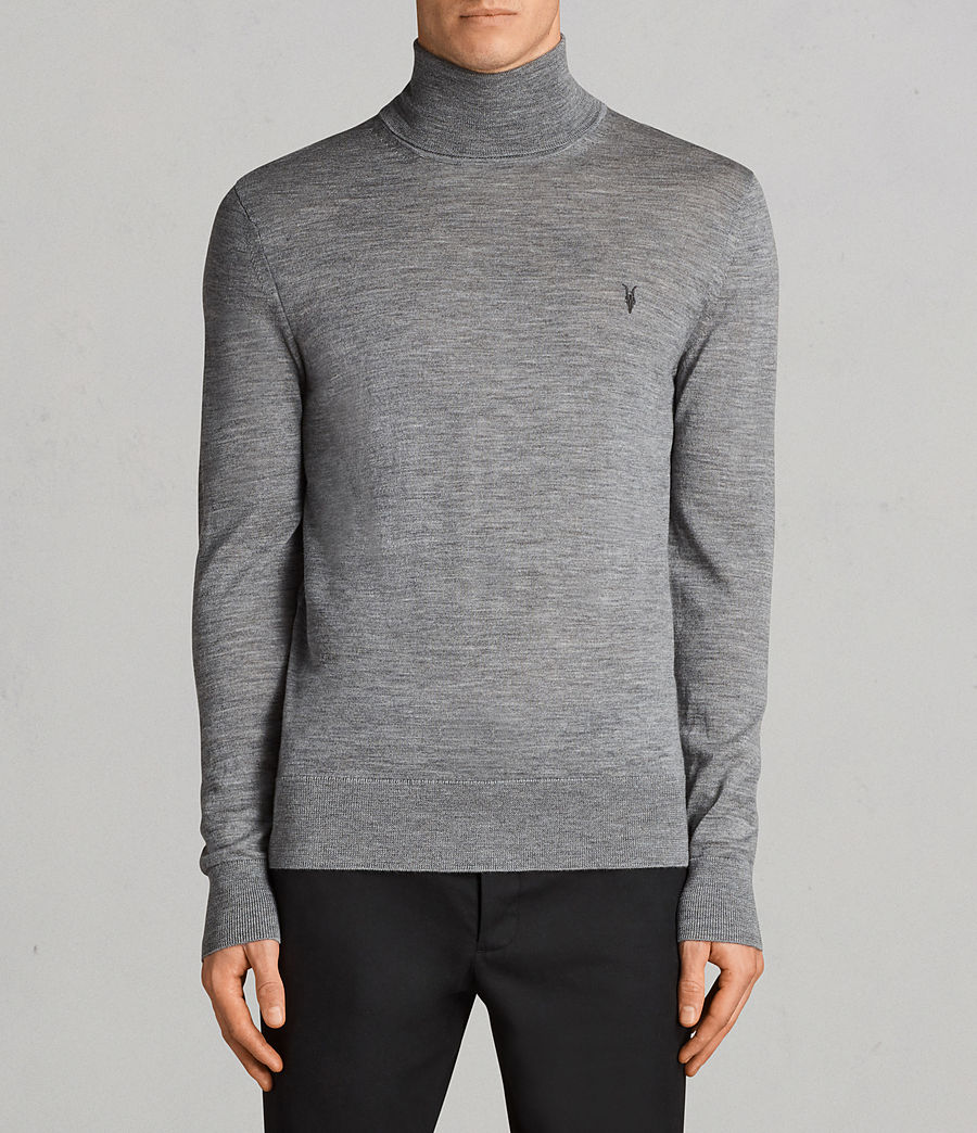 Mens Mode Merino Roll Neck Sweater (grey_marl) - Image 1