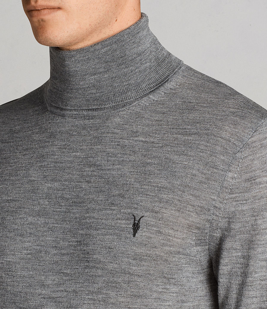 Mens Mode Merino Roll Neck Sweater (grey_marl) - Image 2