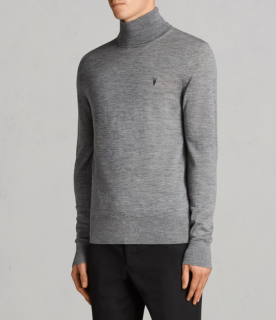 Mens Mode Merino Roll Neck Sweater (grey_marl) - Image 3